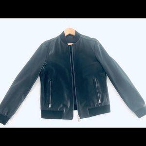 All Saints Men Leather Bomber Jacket